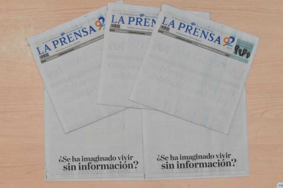 Diario La Prensa de Nicaragua publica portada en blanco en protesta contra gobierno