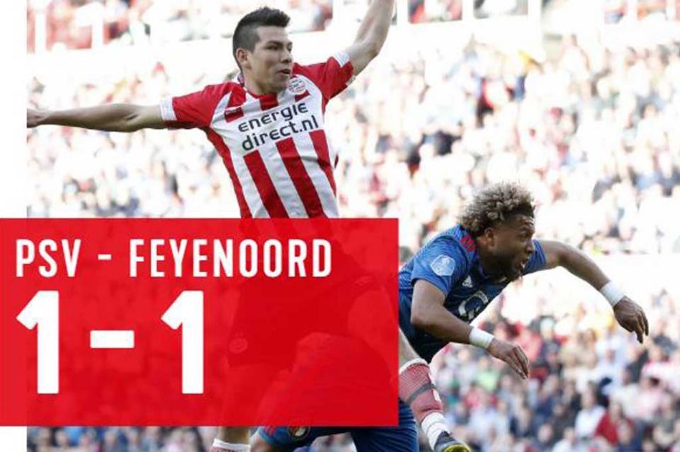 Con gol de Hirving Lozano, PSV empata 1-1 con Feyenoord en Eredivisie
