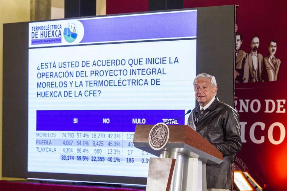 Gana apoyo a la termoeléctrica de Huexca con 59.5 por ciento, anuncia López Obrador