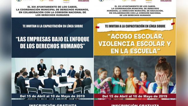 Derechos Humanos de Los Cabos invita a cursos gratuitos en línea