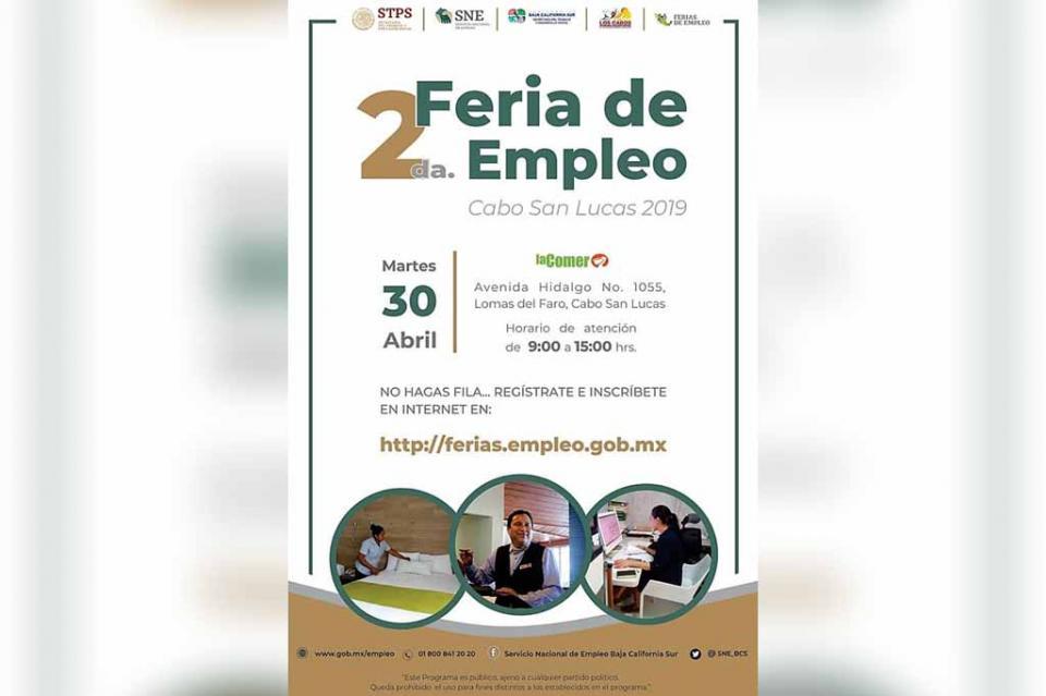 Este martes se realizará la 2da Feria de Empleo Cabo San Lucas 2019