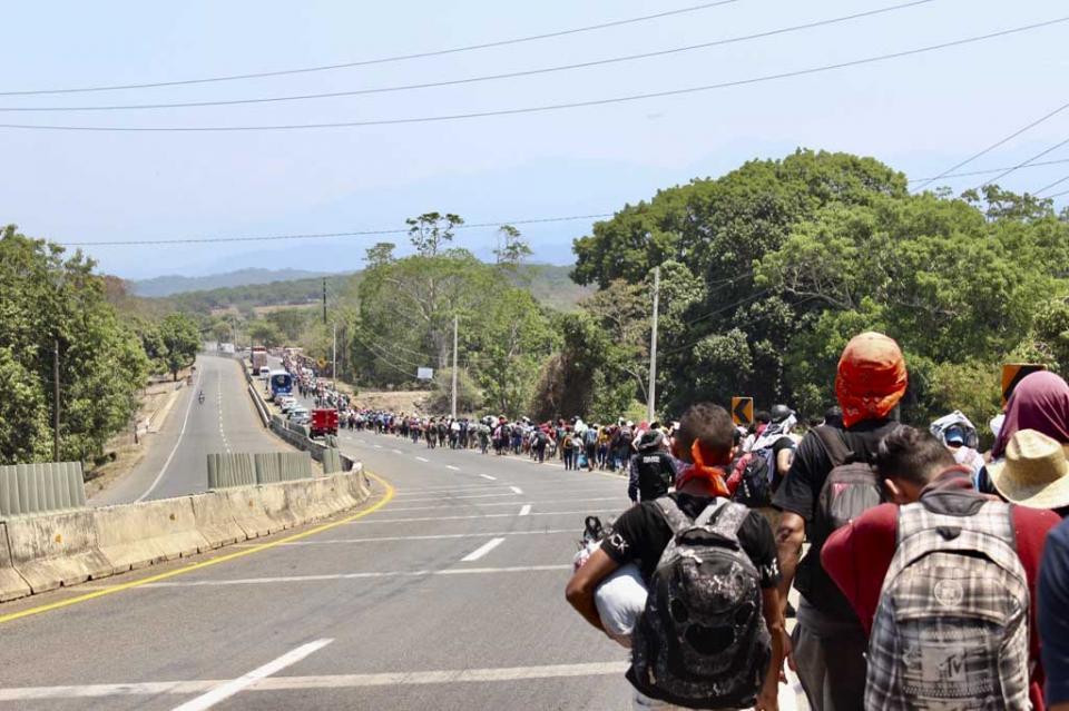 Centroamericanos parten de Huixtla rumbo a municipio de Escuintla