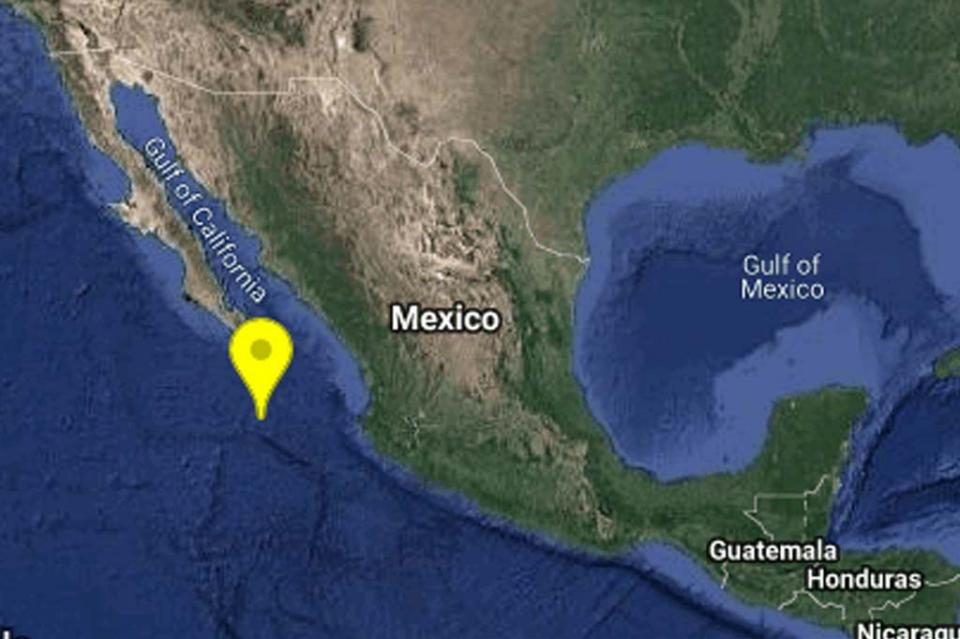 Ocurre sismo de magnitud 5.8 a 275 km al SUR de Cabo San Lucas