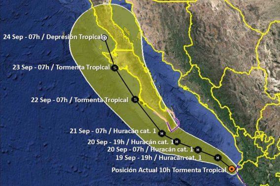 """""""Lorena"""" ahora como Tormenta Tropical se encuentra nuevamente en el mar"""