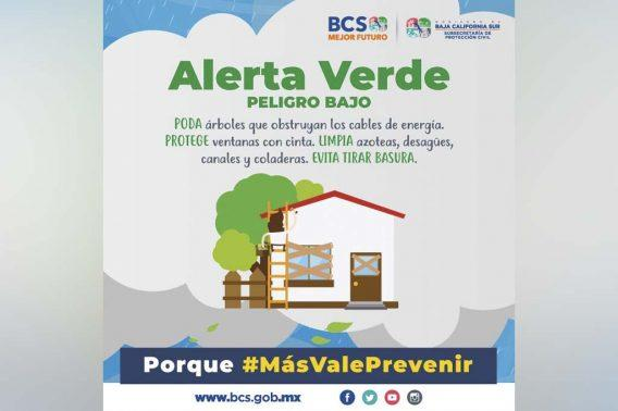 """Alerta Verde para BCS por Tormenta Tropical """"Lorena"""""""