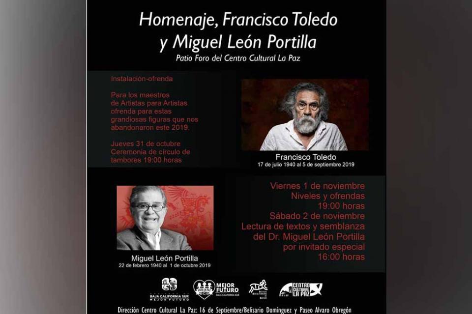 Llevará a cabo Centro Cultural homenaje a la trayectoria de Francisco Toledo y Miguel Portilla