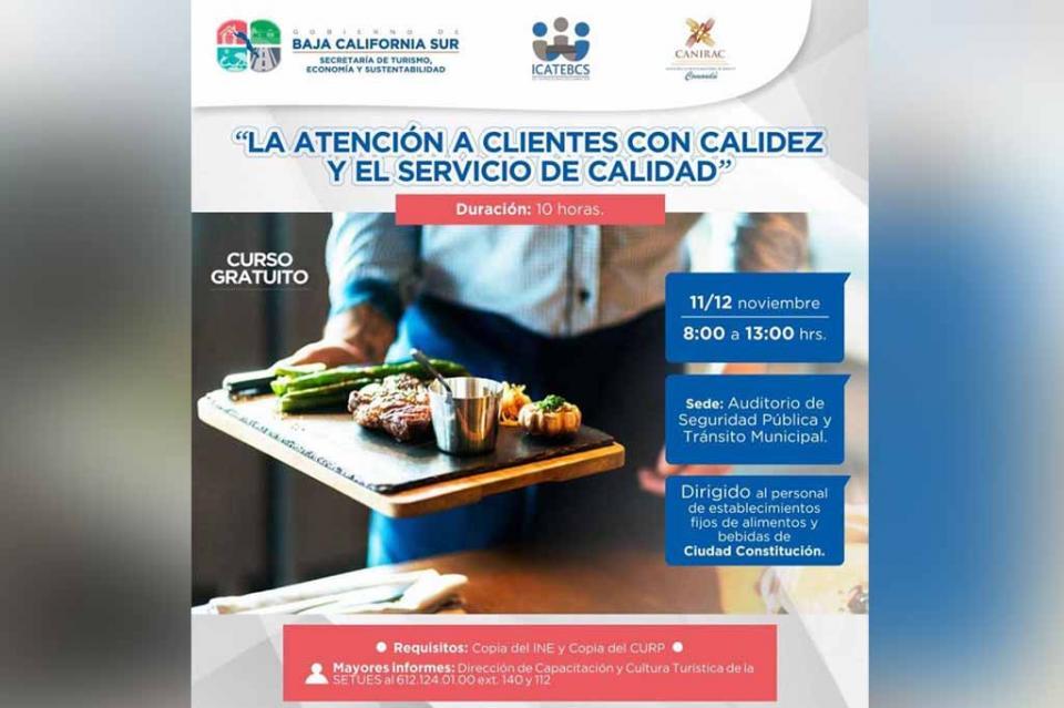 Fortalece SETUES sector restaurantero de Comondú
