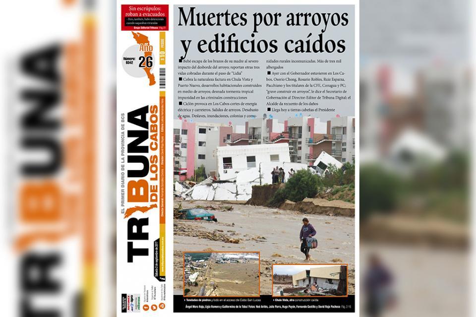 """Edificios colapsados, viviendas y carros enterrados deja """"Lidia"""" a su paso  por Los Cabos"""