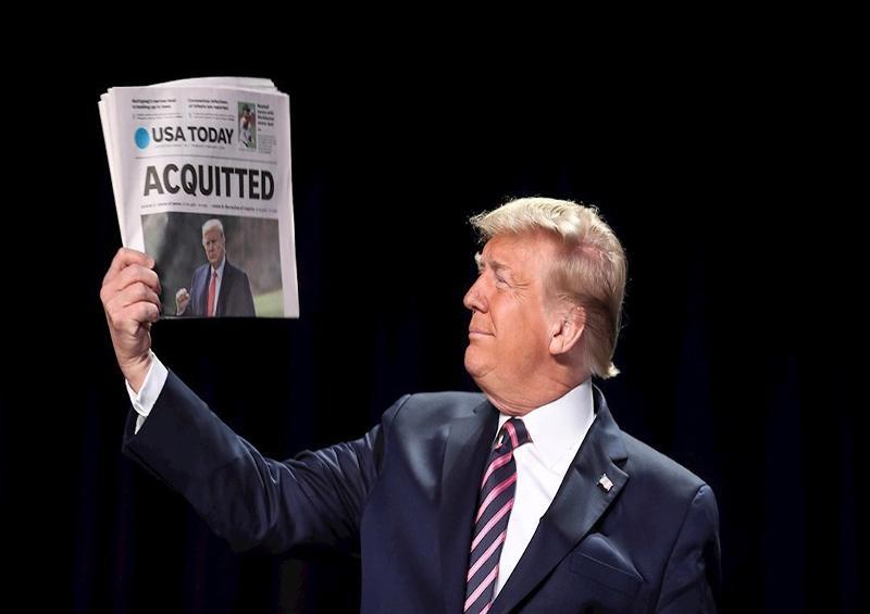 Trump, absuelto, se muestra victorioso