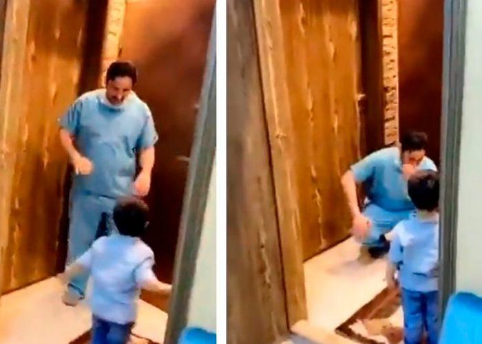 Por coronavirus, médico llora al rechazar el abrazo de su hijo