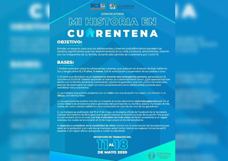 """Convocan  a jóvenes a participar en """"mi historia en cuarentena"""""""