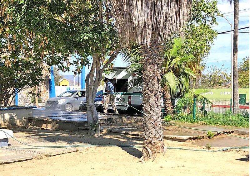 Realizan trabajos de sanitización en vialidades y avenidas principales de La Ribera