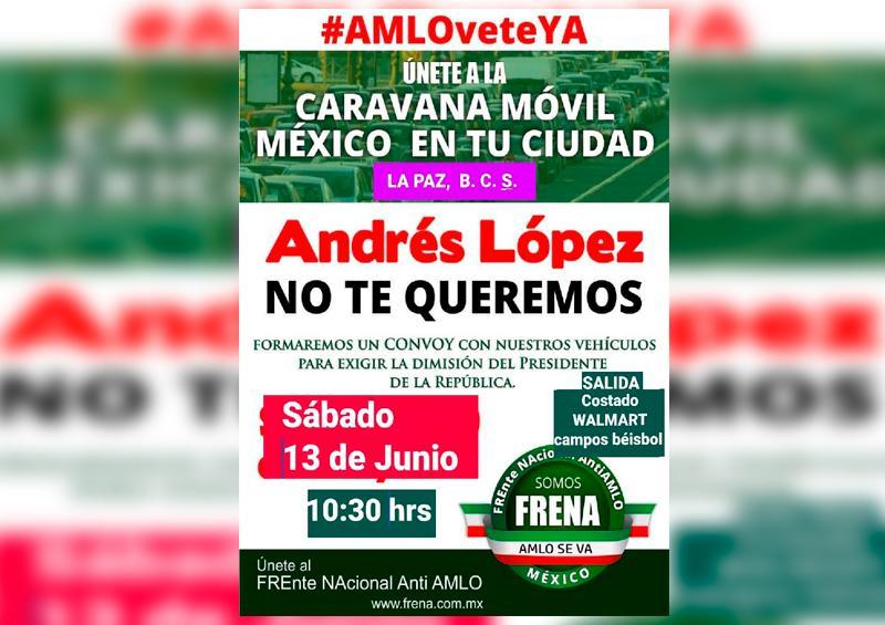 Convocan a caravana móvil anti-AMLO en La Paz