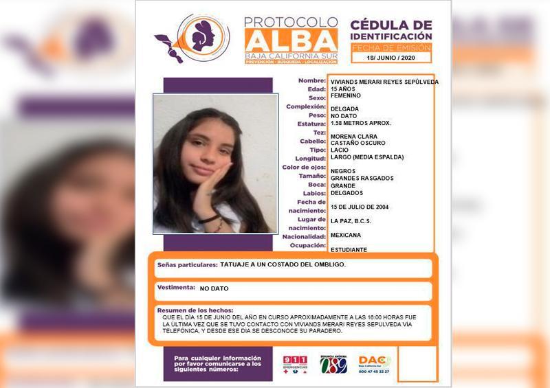 Colabora para localizar a Viviands Merari Reyes de 15 años de edad