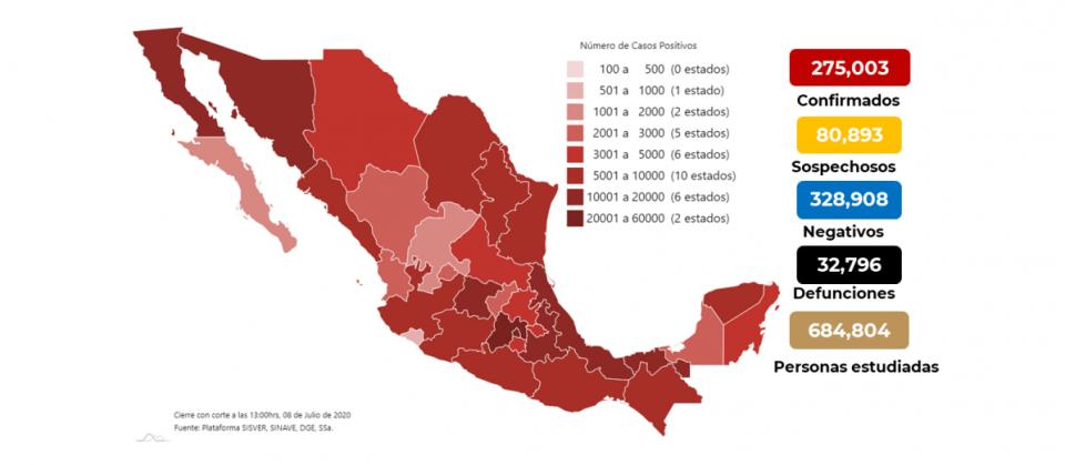 Mapa de casos de coronavirus en México