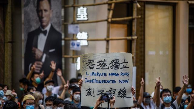 Protestantes en Hong Kong por nueva ley de seguridad