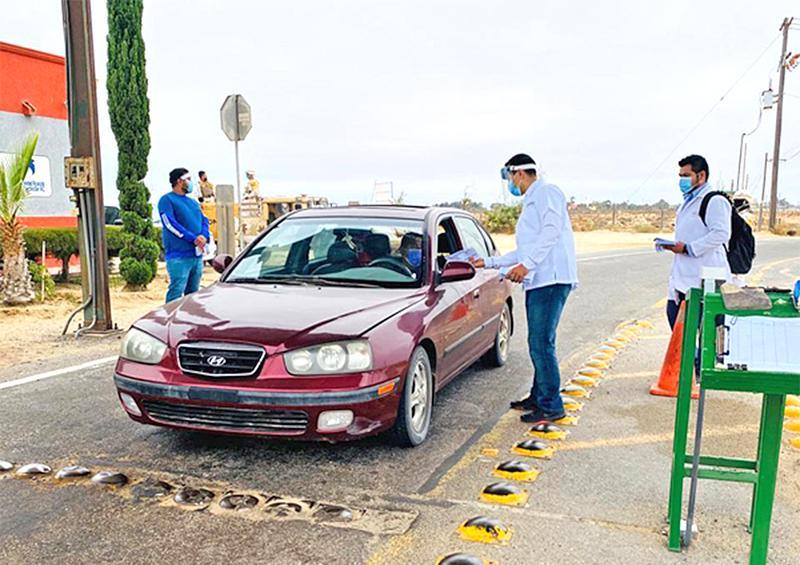 Operan filtro sanitario en acceso carretero de Guerrero Negro