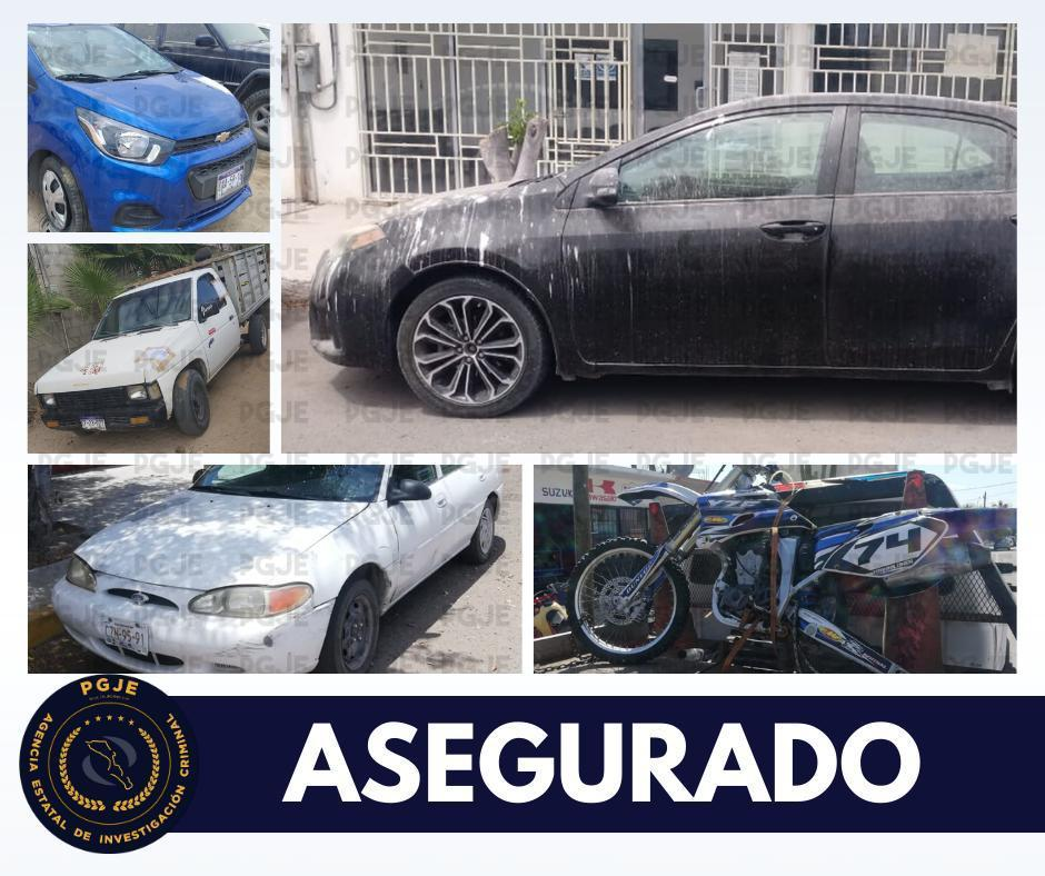 PGJE aseguró cinco vehículos relacionados en actos delictivos