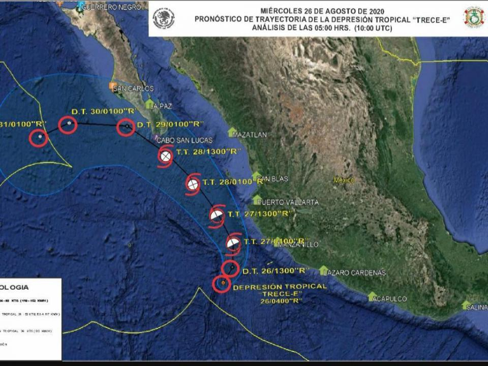 Trayectoria de la depresión tropical 13-E