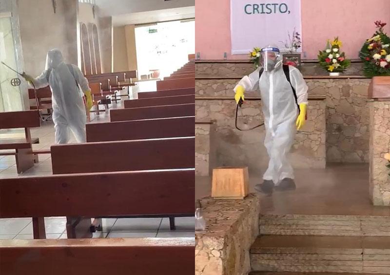 Sanitización de iglesias en Los Cabos