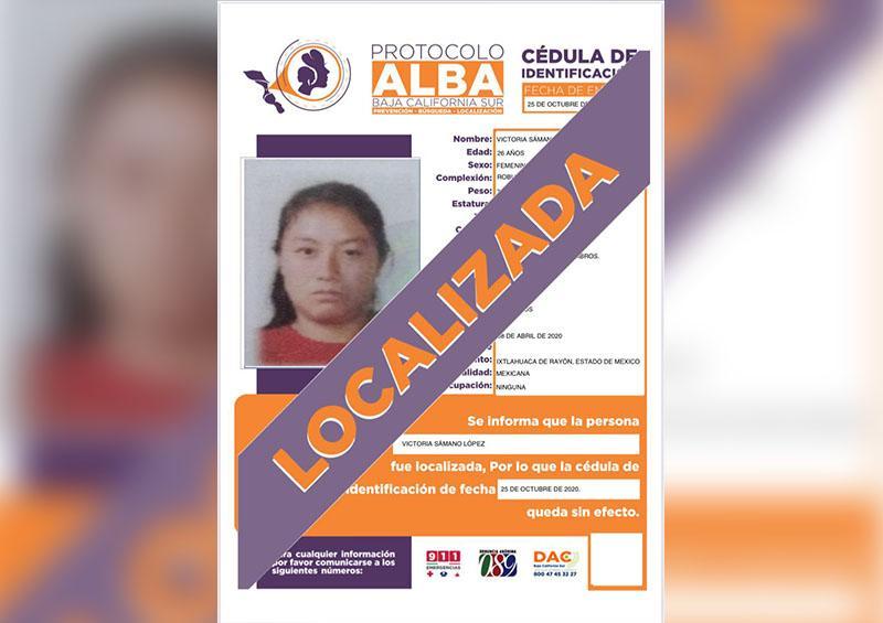 Mujer reportada como desaparecida, es localizada sana y salva