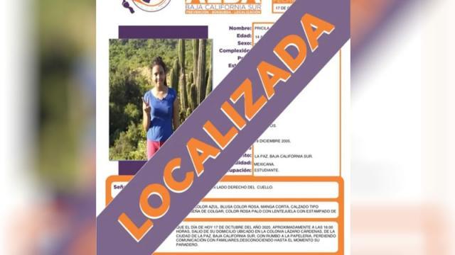 Menor de edad reportada como desaparecida es localizada en La Paz