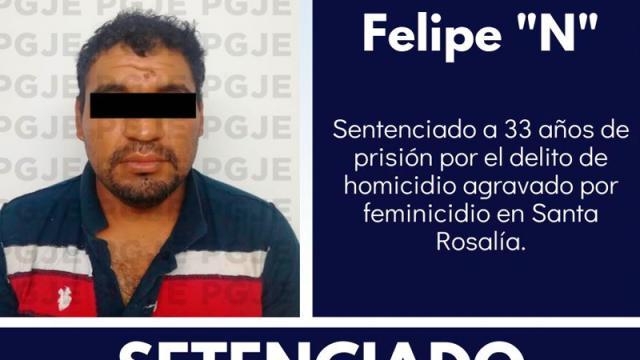 Feminicida va más de 33 años a la cárcel
