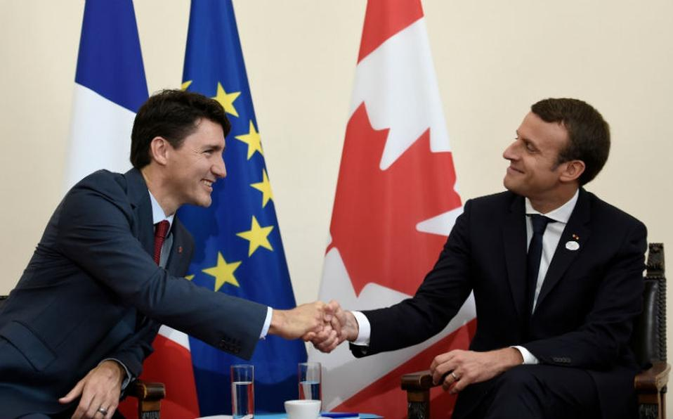 Justin Trudeau y Emmanuel Macron