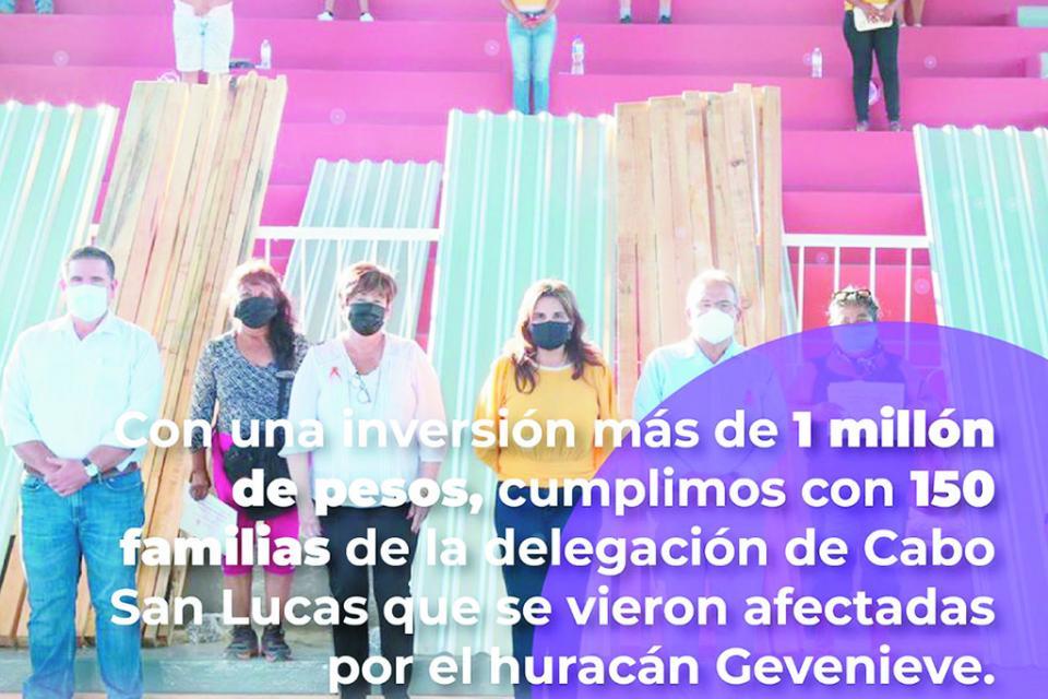 """Más de 1 mdp para afectados por ciclón """"Genevieve"""""""