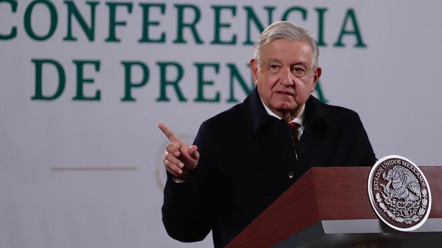 Andrés Manuel López Obrador en conferencia de prensa en el Palacio Nacional