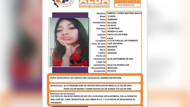 Joven desaparecida en San José del Cabo
