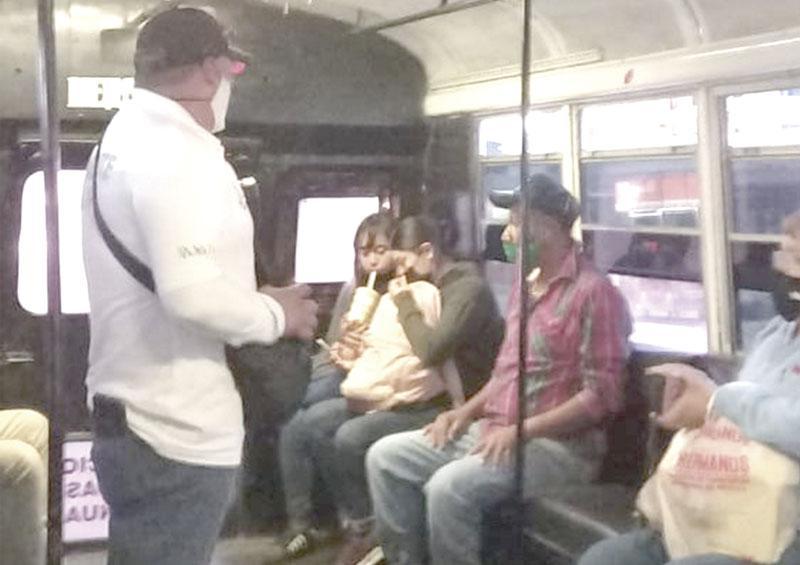 Garantizan acato de medidas sanitarias en transporte público