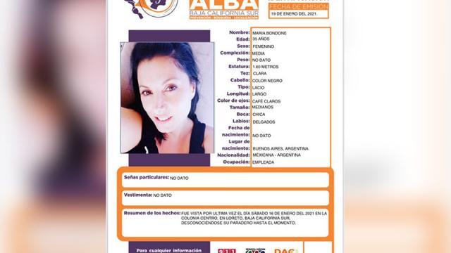 Mujer desaparecida en Loreto