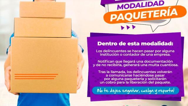 """Nuevo modo de extorsión denominado """"modalidad paquetería"""": PGJE"""