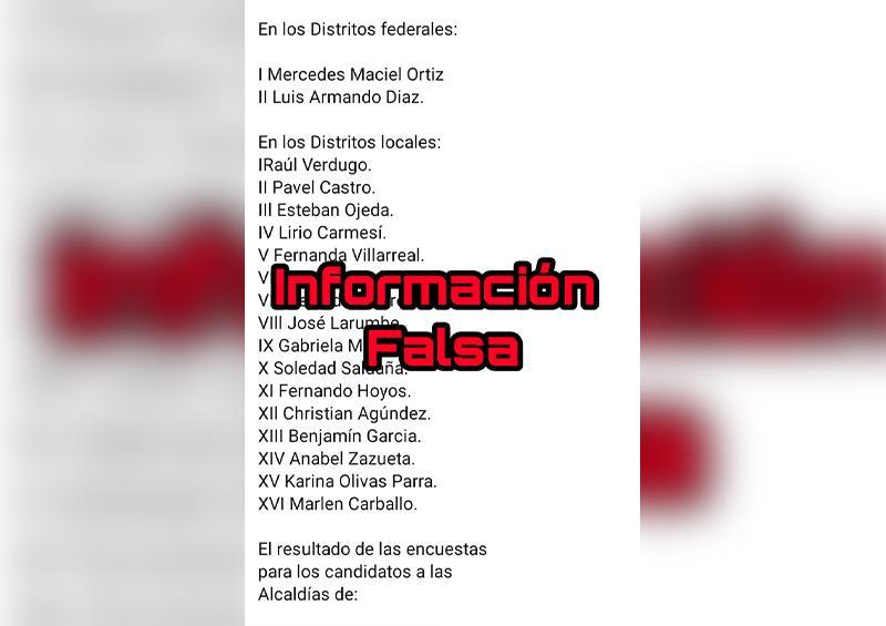 Supuesta lista de candidatos de Morena