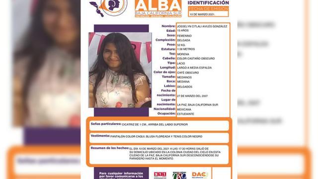 Desaparece una menor de 13 años en La Paz