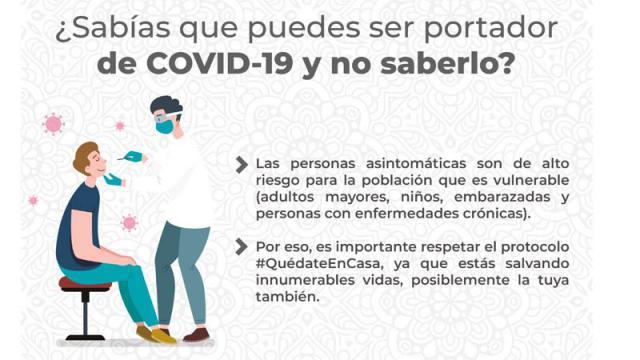 ¿Sabías que puedes ser portador de Covid-19 y no saberlo?