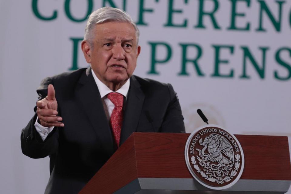 AMLO en conferencia de prensa desde el Palacio Nacional