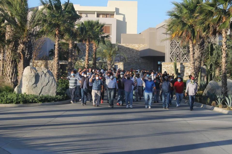 Manifestación de trabajadores del hotel Nobu y Hard Rock