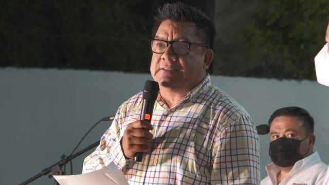 Presidente estatal de Morena en rueda de prensa