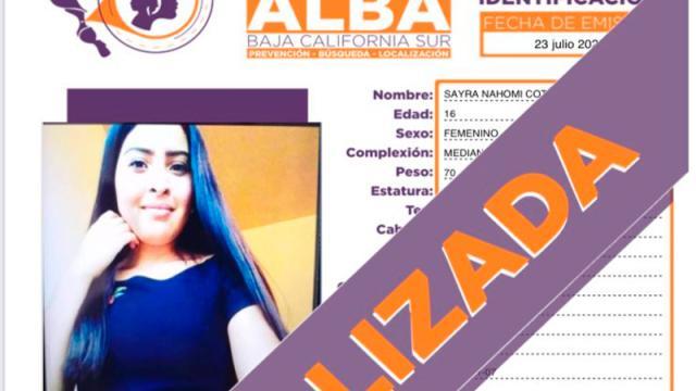 Localizan a menor desaparecida en La Paz