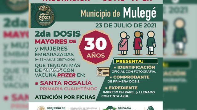 Vacunación para 30 y más en Mulegé